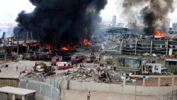 Huge fire at port of Beirut Lebanon just weeks after deadly explosion 9