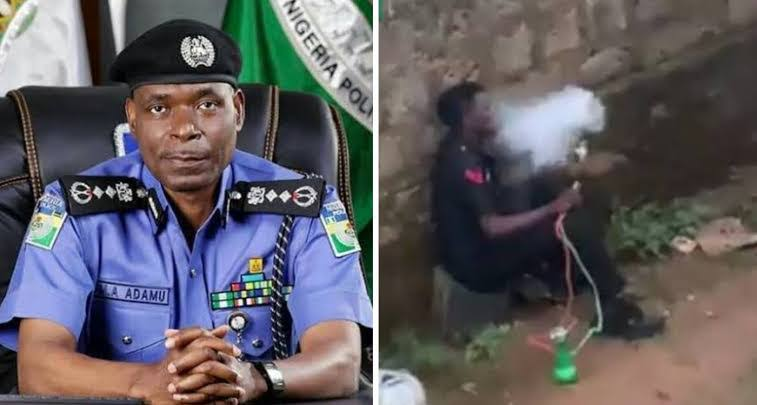 Nigerian Police Reacts After An Officer Was Caught On Camera Smoking Shisha In Public [Video] 1