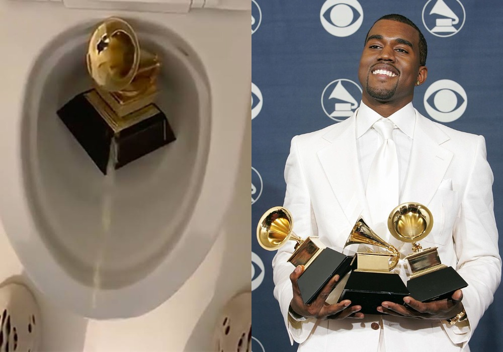 """""""Trust Me...I Won't Stop"""" - Kanye West Says As He Urinates On His Grammy Award In The Closet [Video] 1"""