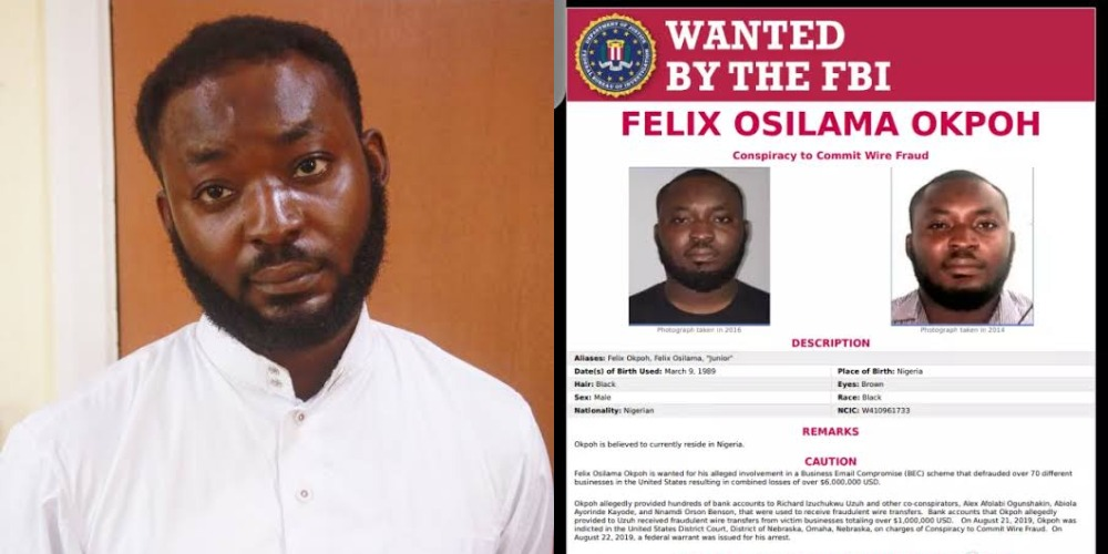 Nigerian man, Felix Okpoh Wanted By FBI Over $6 Million Internet Fraud, Surrenders To EFCC 1