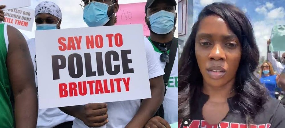 """""""Stop Relying On Celebrities"""" – Tiwa Savage Warns Nigerian Youths As She Joins EndSARS Protest [Video] 1"""