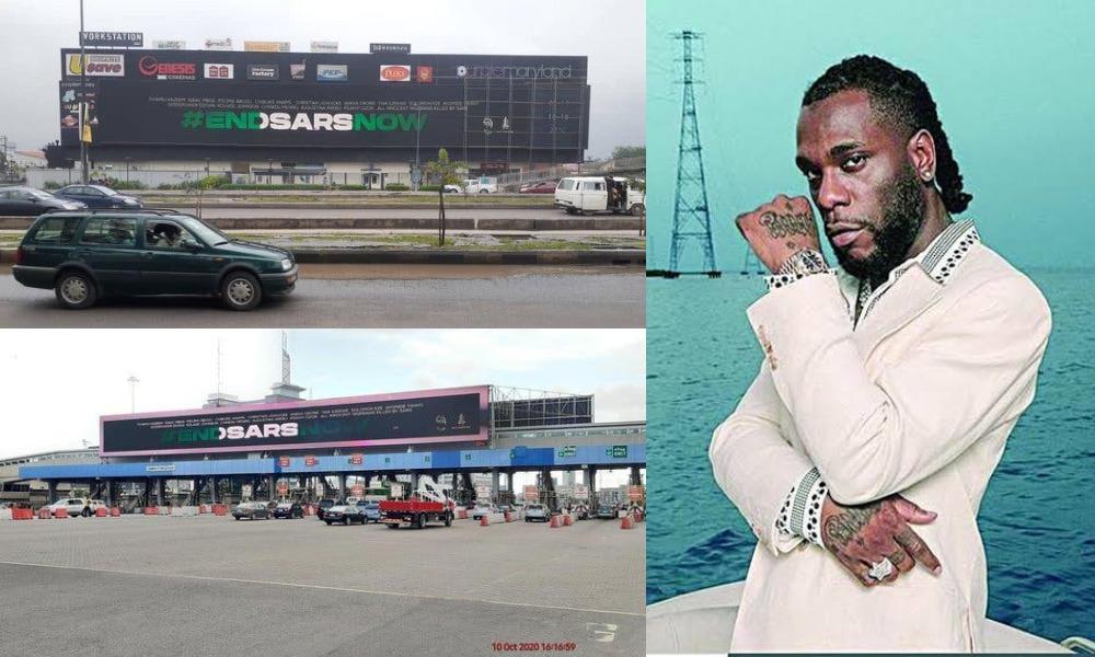 Burna Boy Finally Joins Protest, Mounts #EndSARS Billboards Across Nigeria [Photos] 1