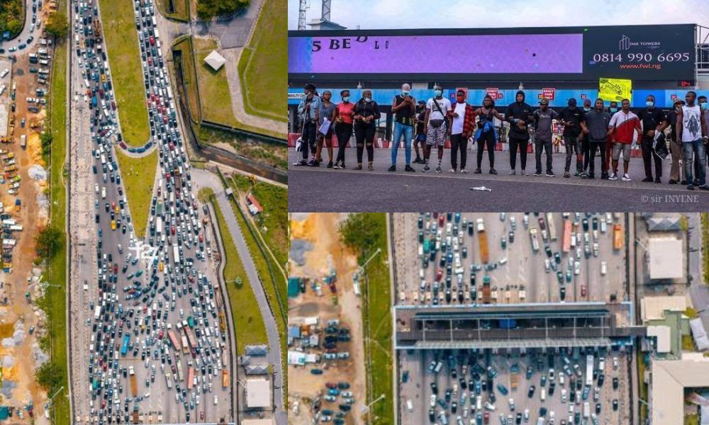 Heavy Gridlock As #EndSARS Protesters Block Lekki Toll Gate In Lagos [Video] 1