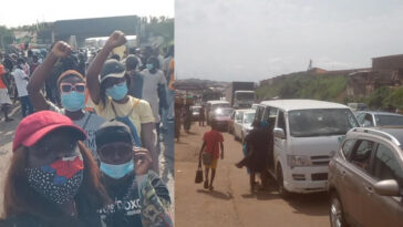 Massive Gridlock As #EndSARS Protesters Shuts Down Iwo Road In Ibadan [Video] 3