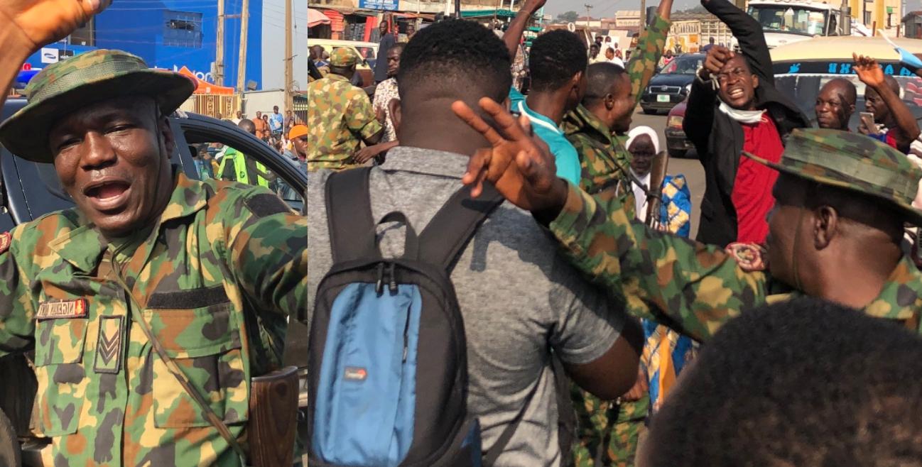 #EndSARS: Nigerian Soldiers Lead Peaceful Protest Against Police Brutality In Ibadan [Photos/Video] 1