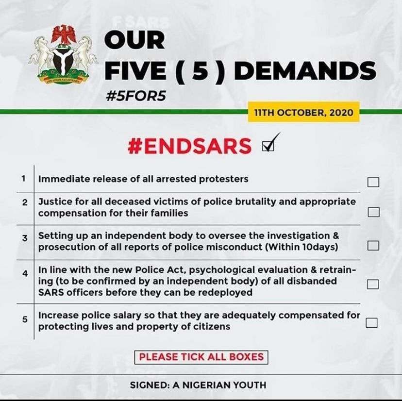 #EndSARS: Presidential Panel Approves Five-Point Demand By Protesting Nigerian Youths 1