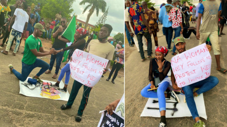 Young Nigerian Man Proposes To His Girlfriend During #EndSARS Protest In Lagos [Photos] 1