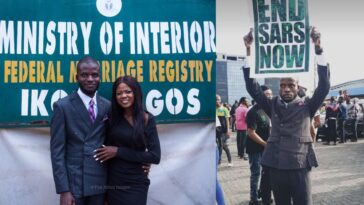 Nigerian Man Joins #EndSARS Protest Immediately After His Court Wedding In Lagos [Photos] 6