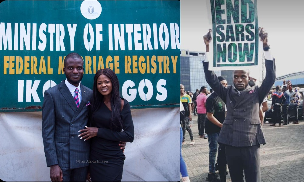 Nigerian Man Joins #EndSARS Protest Immediately After His Court Wedding In Lagos [Photos] 1