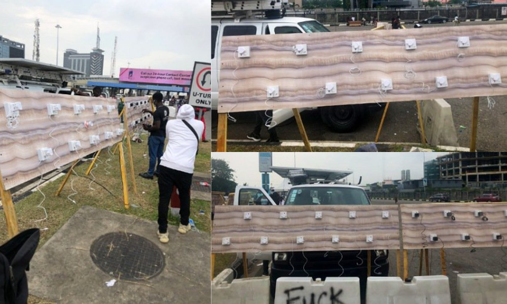 #EndSARS Protesters Setup Free Phone-Charging Spots At Lekki Toll Gate, Lagos [Video] 1