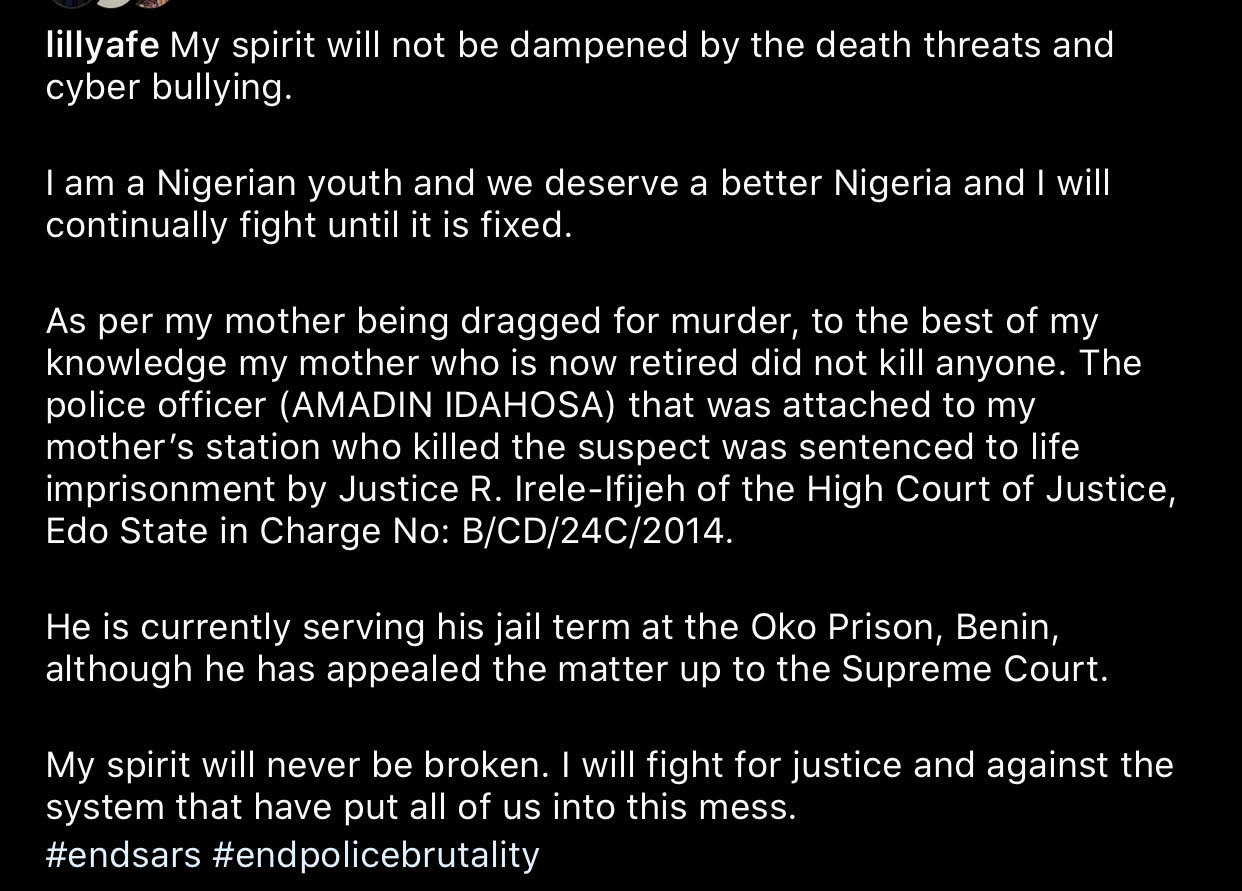 Actress Lilian Afegbai Reacts After Her Mother, Carol Afegbai Was Accused Of Killing UNIBEN Student 2