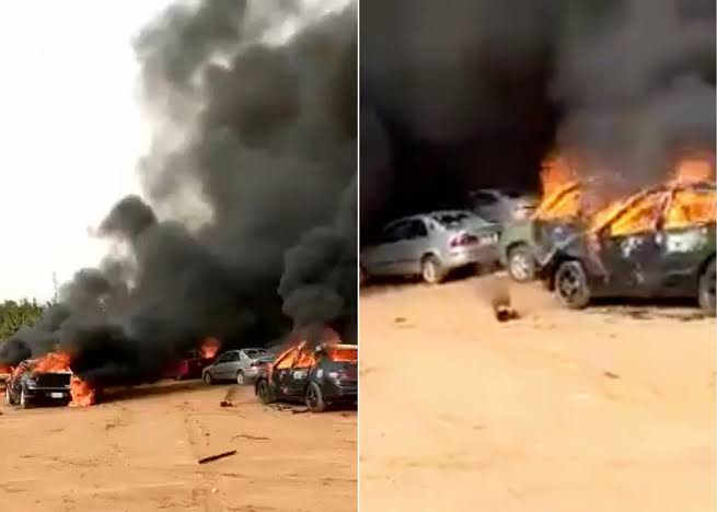 Hoodlums Sets Over 50 Cars Ablaze During #EndSARS Protest In Apo, Abuja [Video] 1