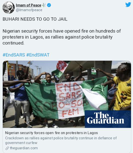 Lekki Massacre: Buhari Needs To Go To Jail For Killing #EndSARS Protesters – Imam Of Peace 2