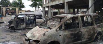 PHOTONEWS: Ajeromi Ifelodun local government council Lagos burnt down by hoodlums 24