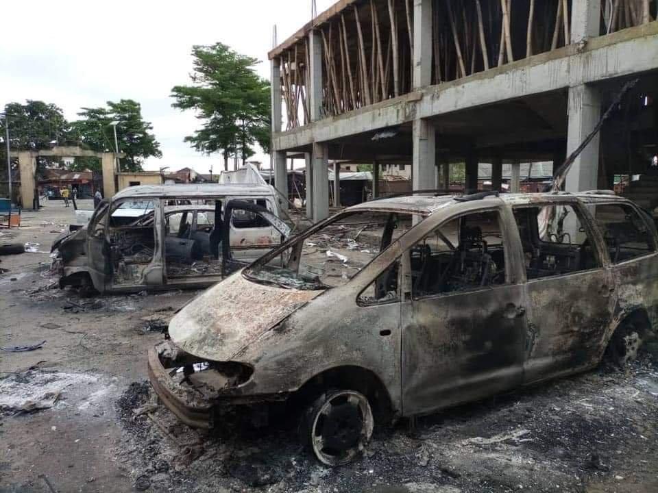 PHOTONEWS: Ajeromi Ifelodun local government council Lagos burnt down by hoodlums 2