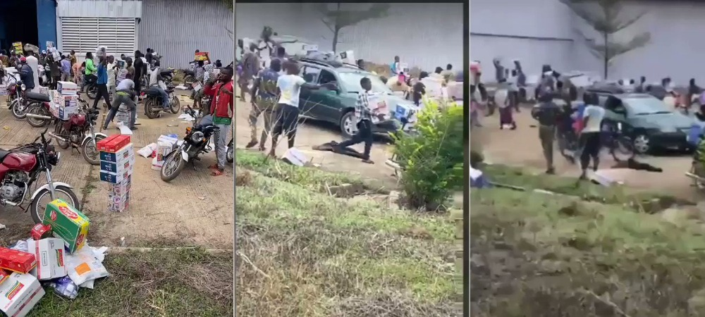 Another Warehouse Filled With COVID-19 Palliatives Currently Being Looted In Ede, Osun State [Video] 1