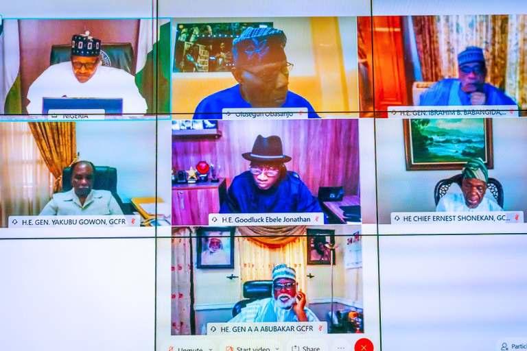 Preident Buhari Meets Obasanjo, Jonathan, Gowon, Others Amid #EndSARS Protests [Photos] 1