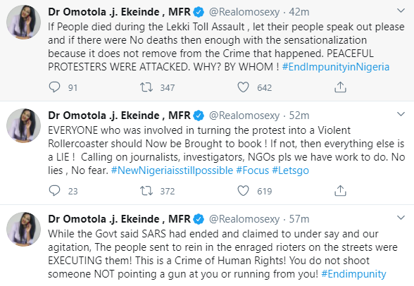 #EndSARS: If People Died During Lekki Shooting, Let Their Family Speak Out - Omotola Jalade-Ekeinde 2