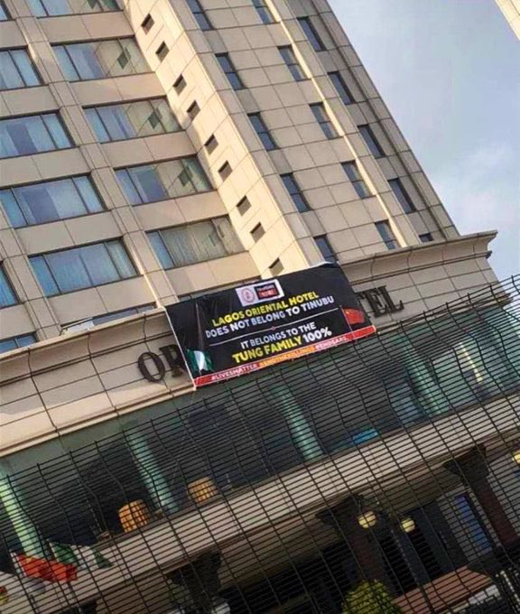 Oriental Hotel Puts Up Poster Denying It Is Owned By Tinubu After Attack By Angry Mob 2