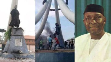 Angry Youths Burn Nnamdi Azikiwe's Statue In Anambra, Say He Caused Their Problems 15