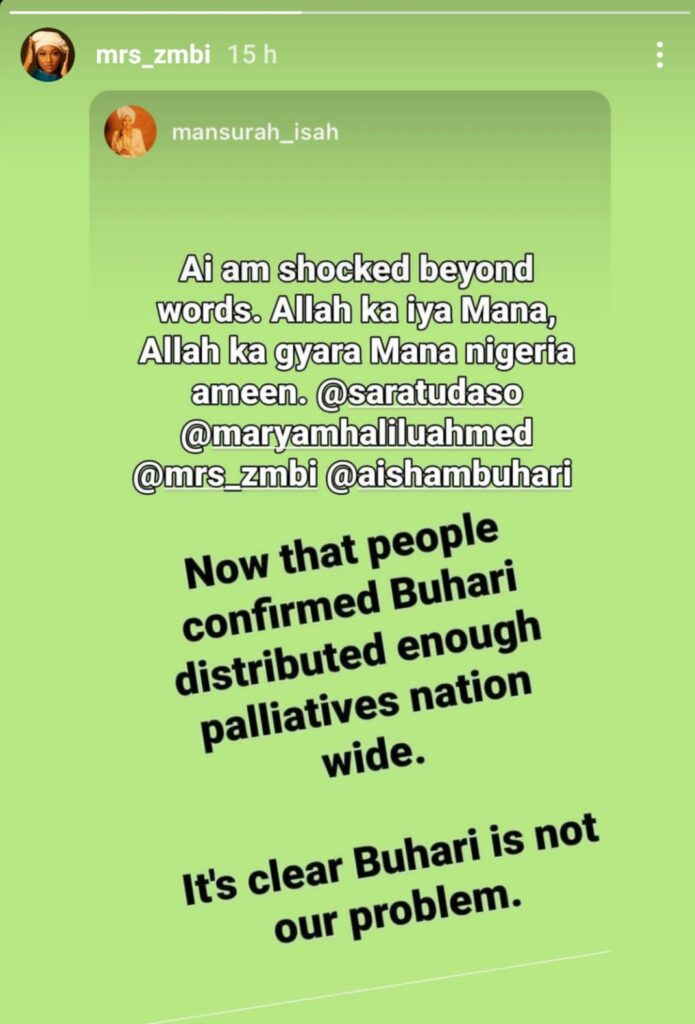 COVID-19 Palliatives In Warehouses Proves My Dad Isn't Nigeria's Problem - Buhari's Daughter, Zahra 2