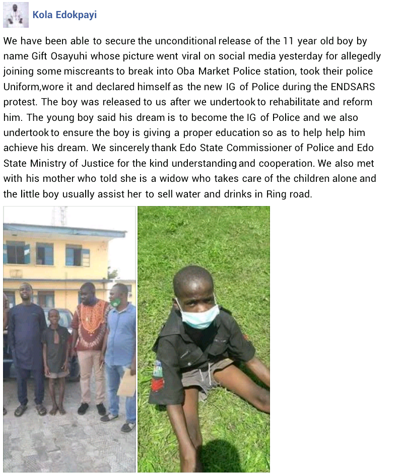Police Release 11-Year-Old Boy Who Declared Himself IGP After 'Attacking Edo Police Station' 2