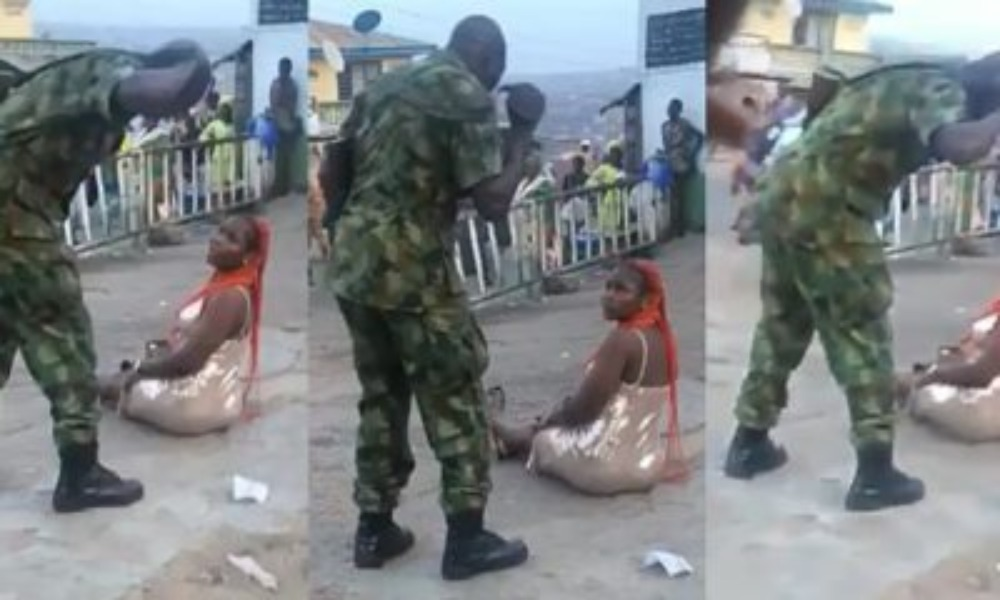 Operation Burst: Soldier Flogs Woman In Public For 'Indecent Dressing' In Ibadan [Video] 1