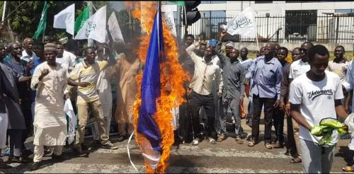 Shi'ites Protest Against French President Emmanuel Macron In Abuja, Burns Country Flag 1