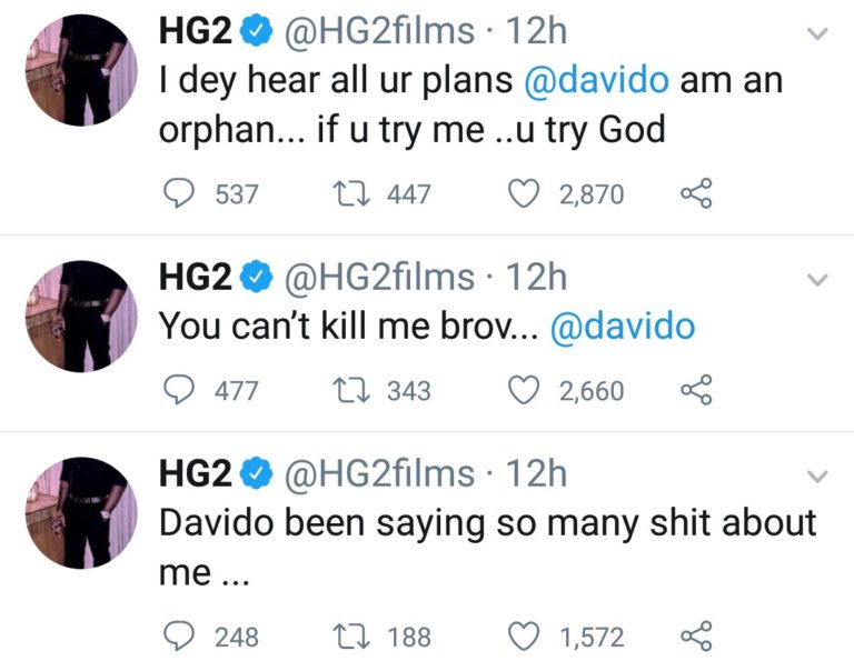 """If You Try Me, You Try God"" - Filmmaker, HG2 Accuses Davido Of Planning To Kill Him 2"
