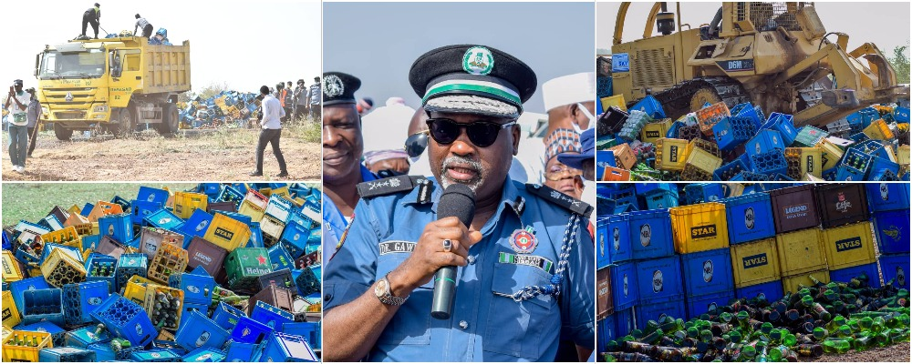 Ganduje Orders Hisbah Police To Destroy 1,975,000 Bottles Of Beer Worth N200 Million In Kano [Photos] 1