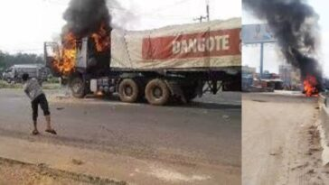 Angry Youths Burns Dangote Truck After Fleeing Driver Killed A Cart Pusher In Anambra 3