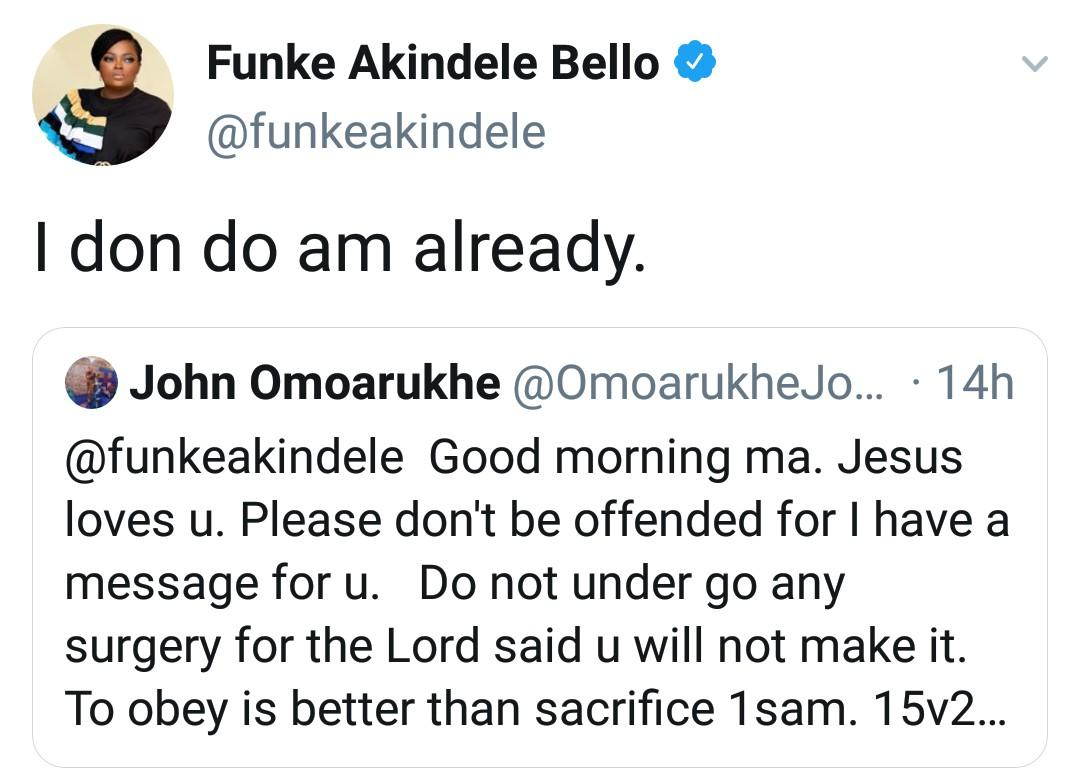 Funke Akindele Replies Man Who Claims God Told Him She Will Die If She Undergoes Surgery 2