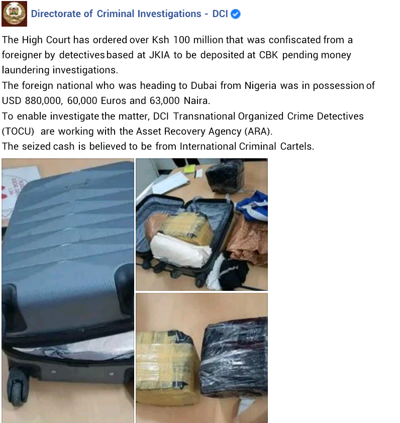 Nigerian Man Arrested With N454 Million Cash Forfeits The Money To Kenyan Government 2