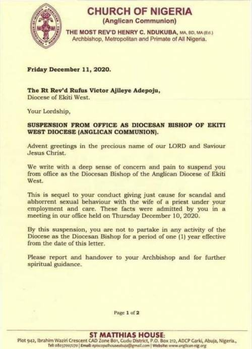 Anglican Church Suspends Ekiti Bishop After He Confessed To Having Sεx With Priest's Wife 2