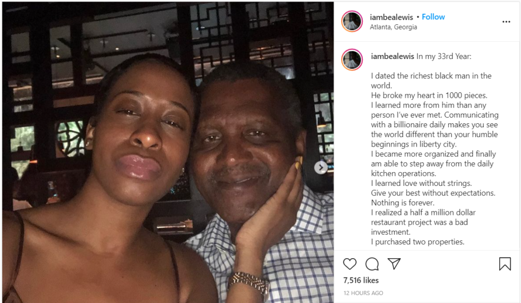 ''He broke my heart in 1000 pieces'' - Aliko Dangote's ex girlfriend Bea Lewis claims 3
