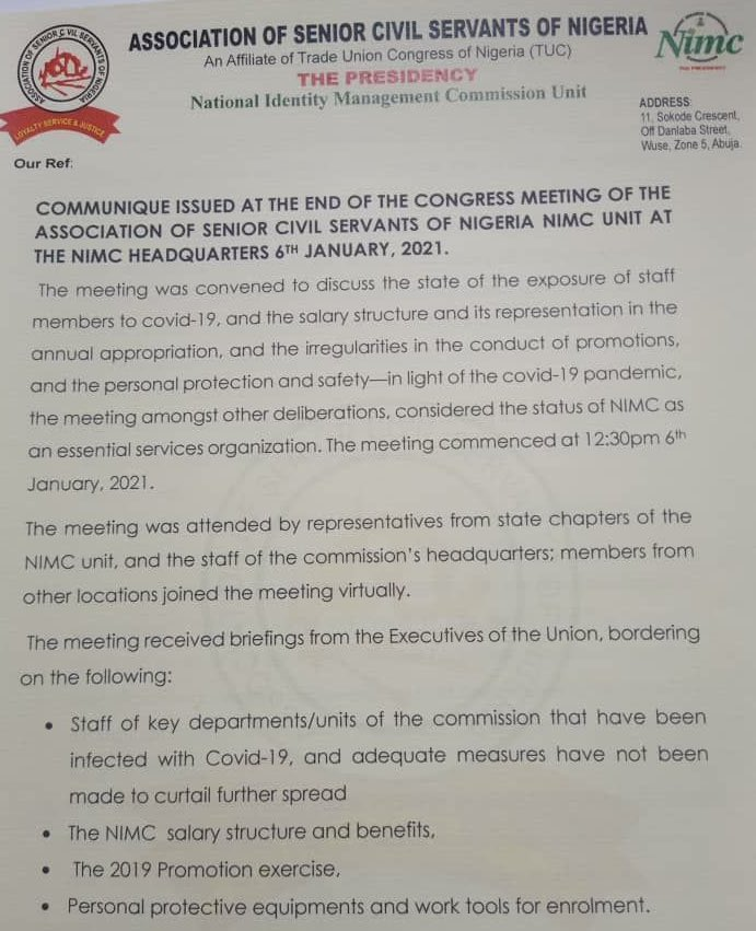 NIN Registration: NIMC Workers Embark On Strike Over Welfare Issues, Exposure To COVID-19 3