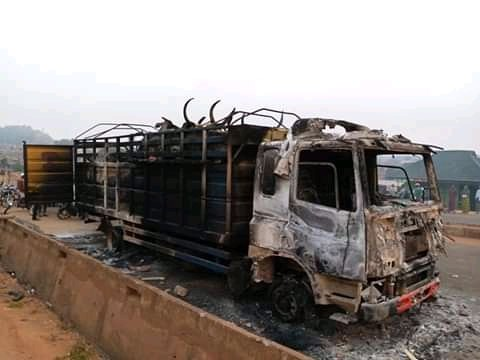 Truck Conveying Cows Set Ablaze By Angry Mob For Crushing Boy To Death In Oyo 3