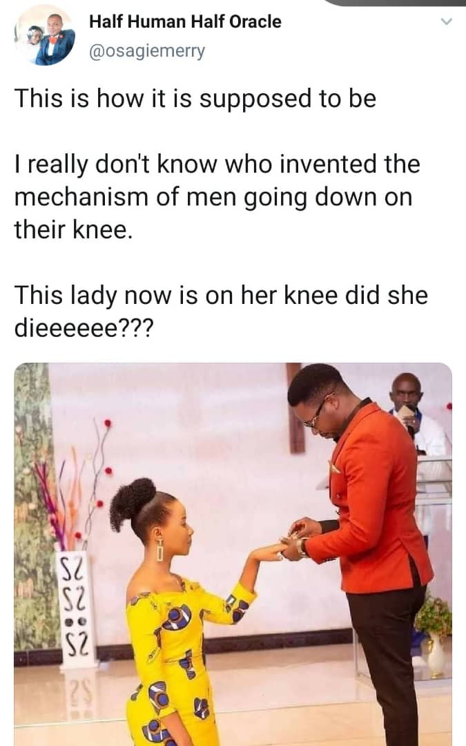 Nigerian Man Claims Women Are Meant To Kneel When Accepting Marraige Proposals 2