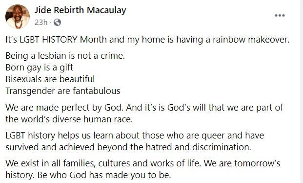 """Born Gay Is A Gift, Being Lesbian Is Not A Crime"" - Pastor Jide Macaulay Declares 2"