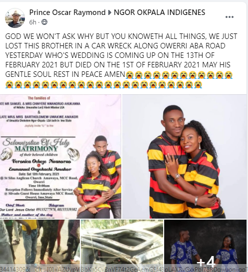 Young Man Dies In Fatal Car Accident, Just Few Days To His Wedding In Imo State [Photos] 2
