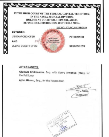 Lilian Esoro And Ubi Franklin's Marriage Officially Dissolved By Abuja Court 2