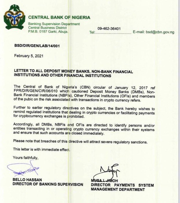 CBN Directs Banks To Close All Accounts Related To Cryptocurrencies In Nigeria 2