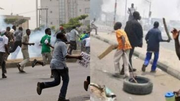 Gunshots Fired As Two NURTW Rival Groups Clashes Violently In Obalende, Lagos [Video] 1