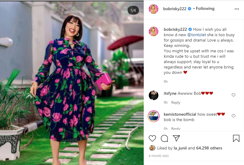 """""""I Will Stay Loyal To You Even Though You're Upset With Me"""" - Bobrisky Tells Tonto Dikeh 2"""