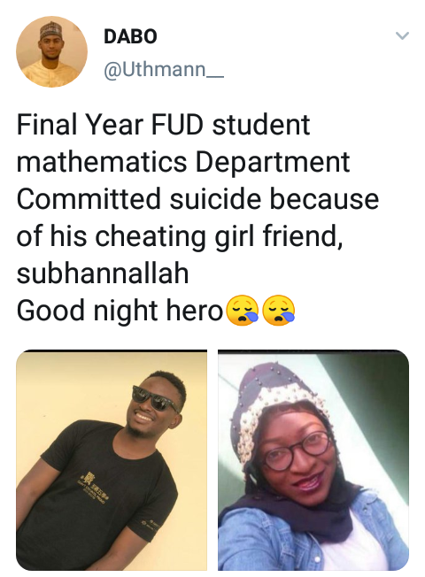 FUD Final Year Student Commits Suicide After Girlfriend Cheated On Him On Valentine's Day 2