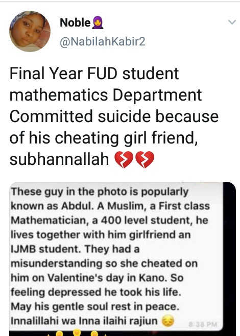 FUD Final Year Student Commits Suicide After Girlfriend Cheated On Him On Valentine's Day 3