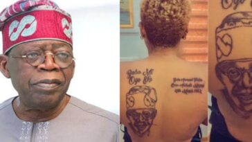 Nigerian Lady Tattoos Bola Tinubu's Face, Name And Date Of Birth On Her Back [Photos] 13