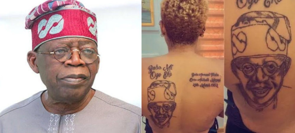 Nigerian Lady Tattoos Bola Tinubu's Face, Name And Date Of Birth On Her Back [Photos] 1