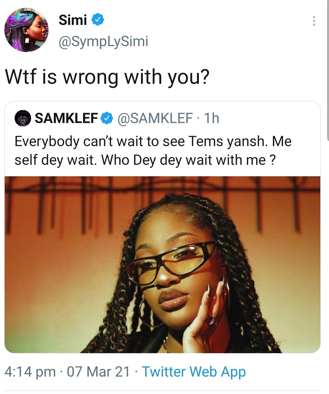 Simi And Erica Clashes With Samklef On Twitter For Sexualising Female Singer, Tems [Video] 2