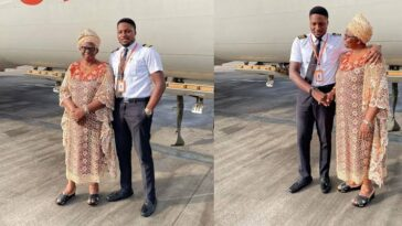 Nigerian Pilot Excited As He Flies His Mum For The First Time To Her Destination [Photos] 7